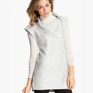 Trouve Metallic White Sleeveless Cowl Neck Sweater